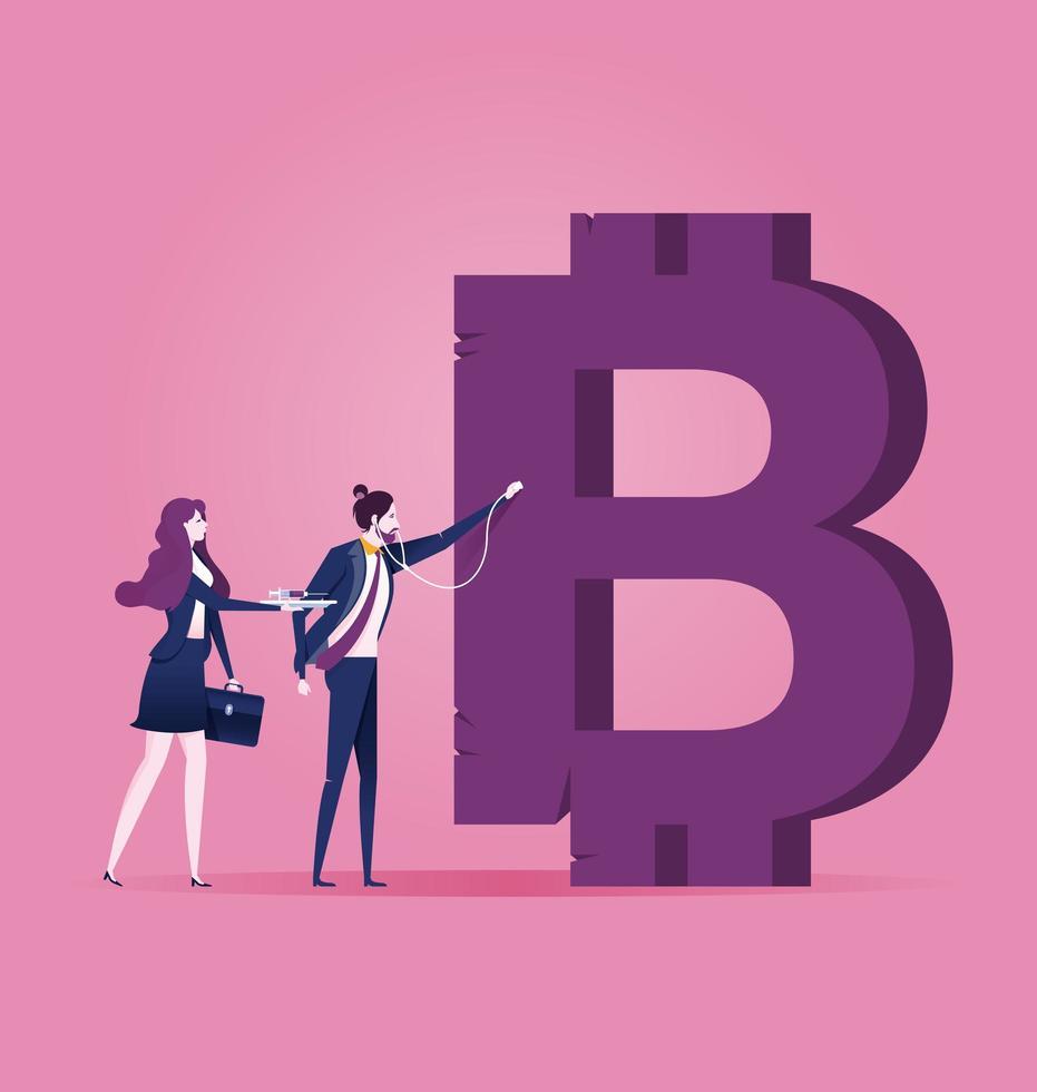 uomo d'affari esaminando il segno bitcoin vettore