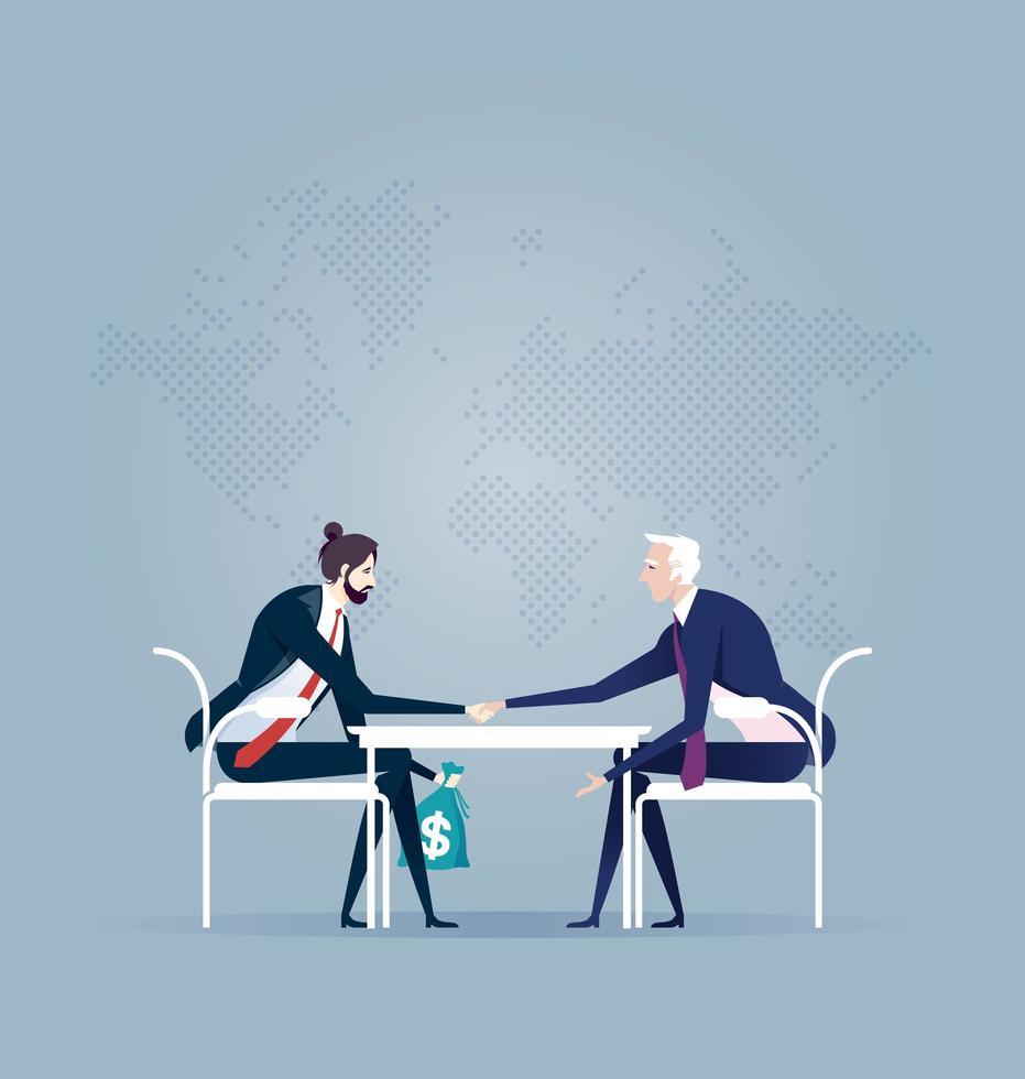 uomini d'affari passando contanti sotto il tavolo vettore