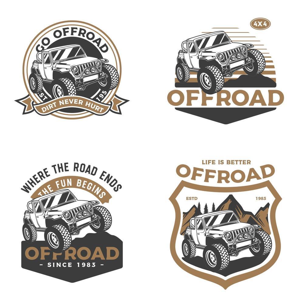 set di badge per fuoristrada vettore