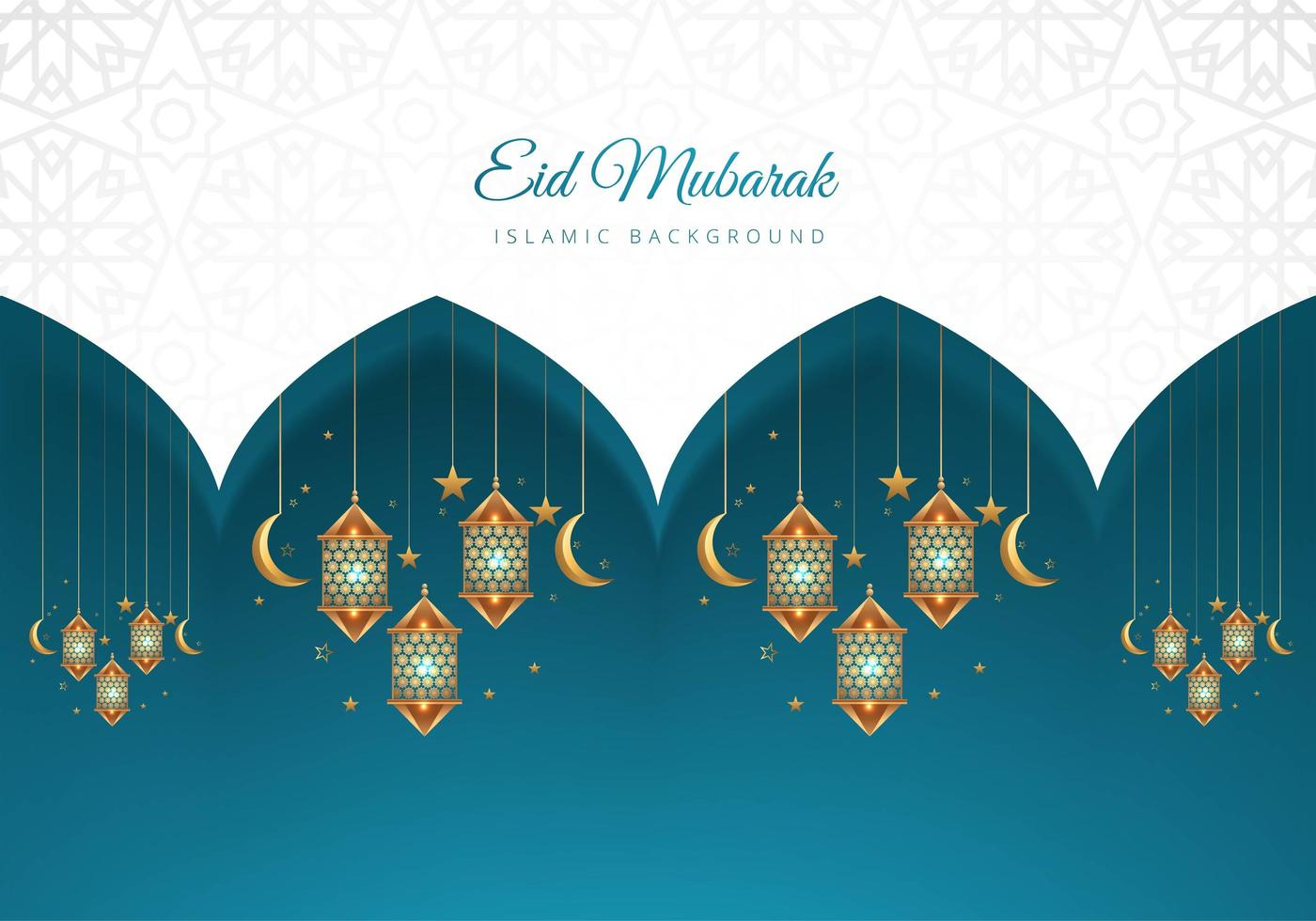 eid mubarak islamico sfondo blu e bianco lanterne vettore