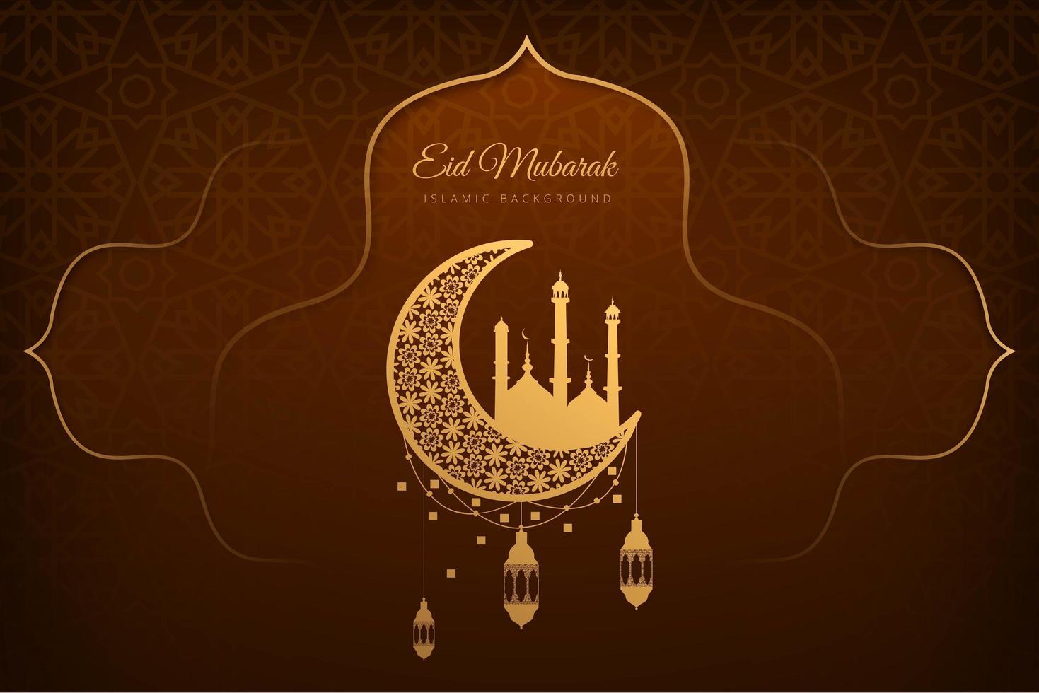 eid mubarak marrone e oro carta di sfondo vettore