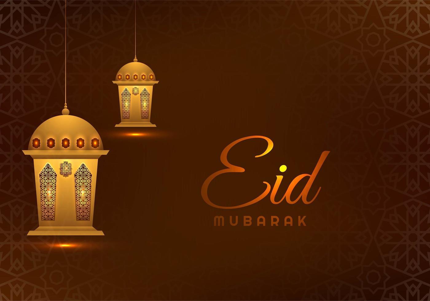 eid mubarak sfondo geometrico marrone con lanterne vettore