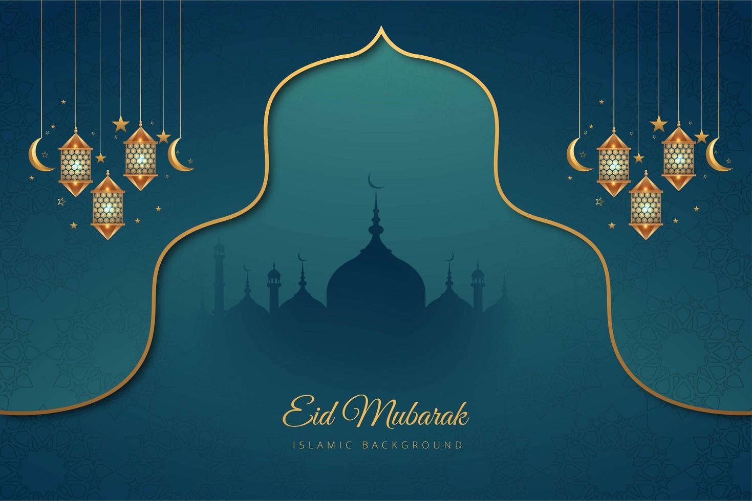 eid mubarak sfondo vacanza accento blu e oro vettore