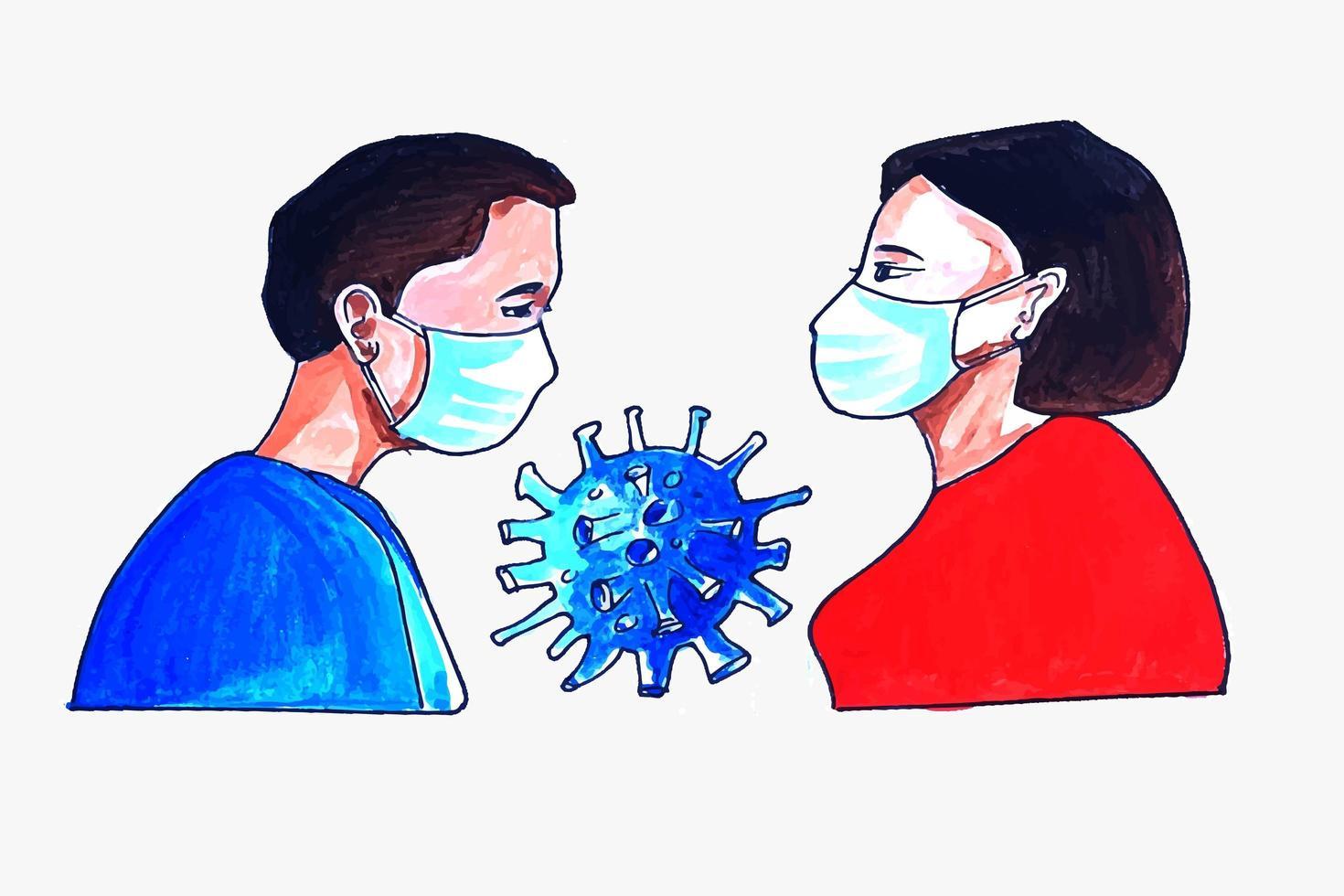 uomo e donna che indossa la maschera vettore