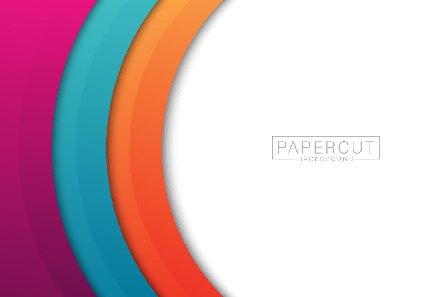 design colorato papercut bordo curvo vettore