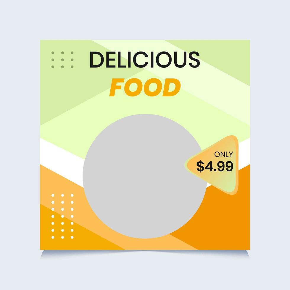 modello di post di cibo verde e arancione social media vettore