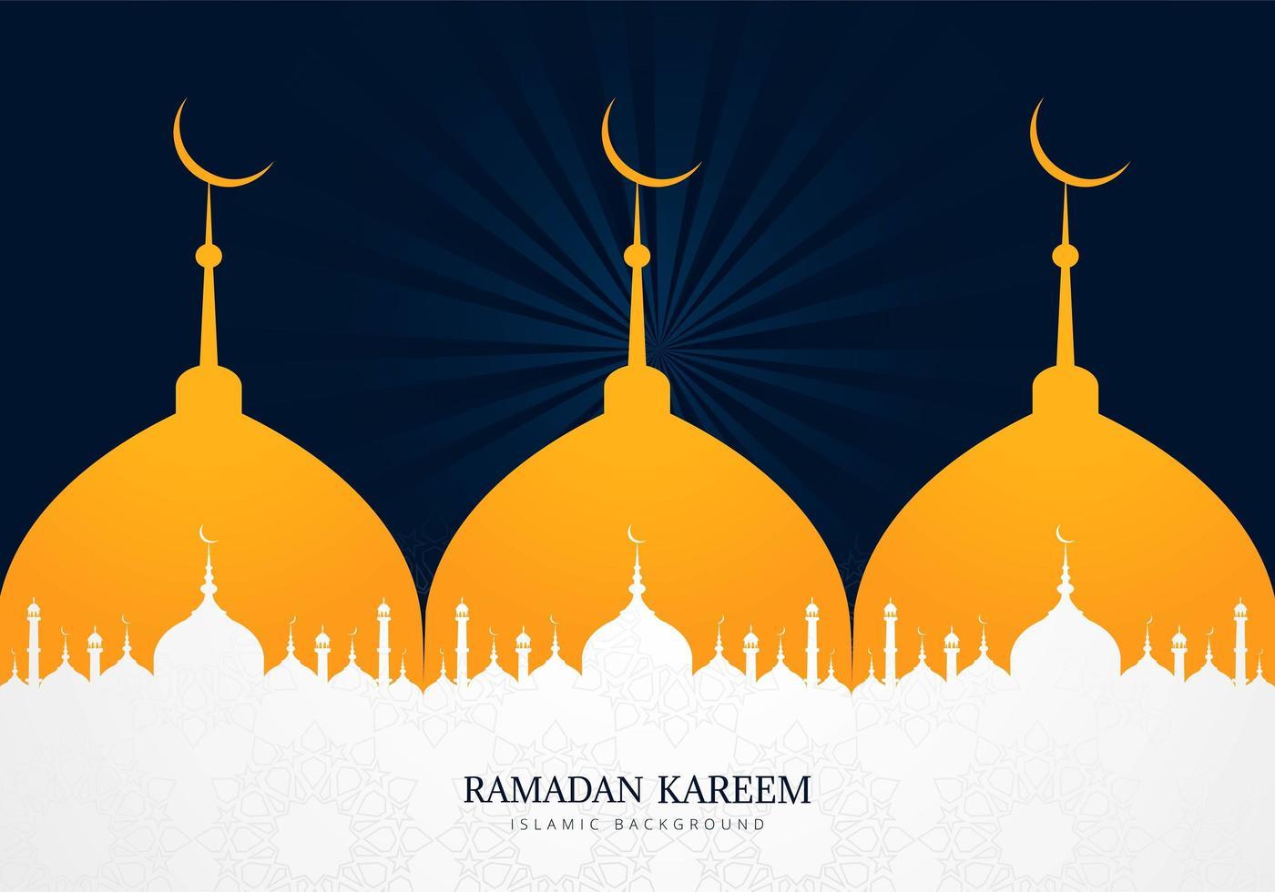 più moschea silhouette ramadan kareem design vettore