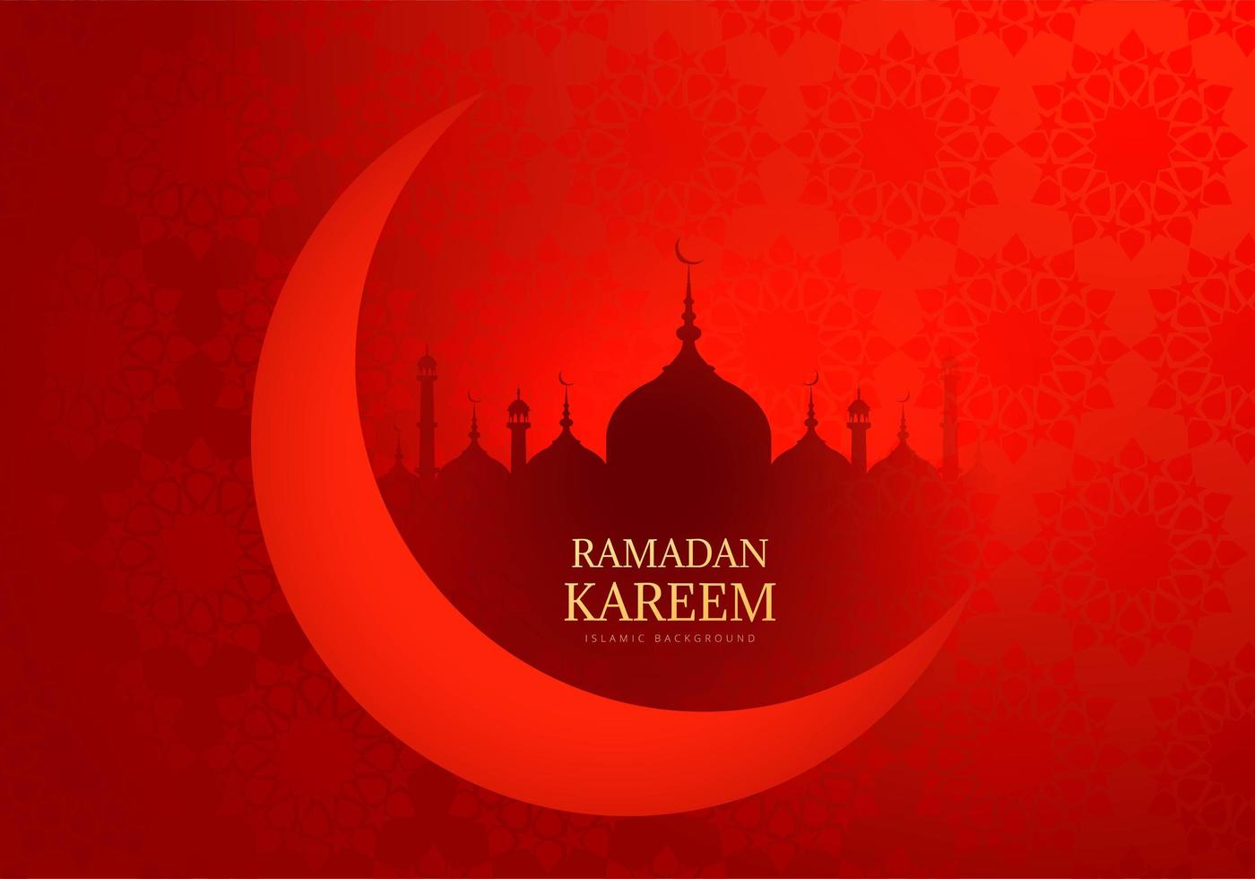 sagoma di luna e moschea ramadan kareem rosso vettore