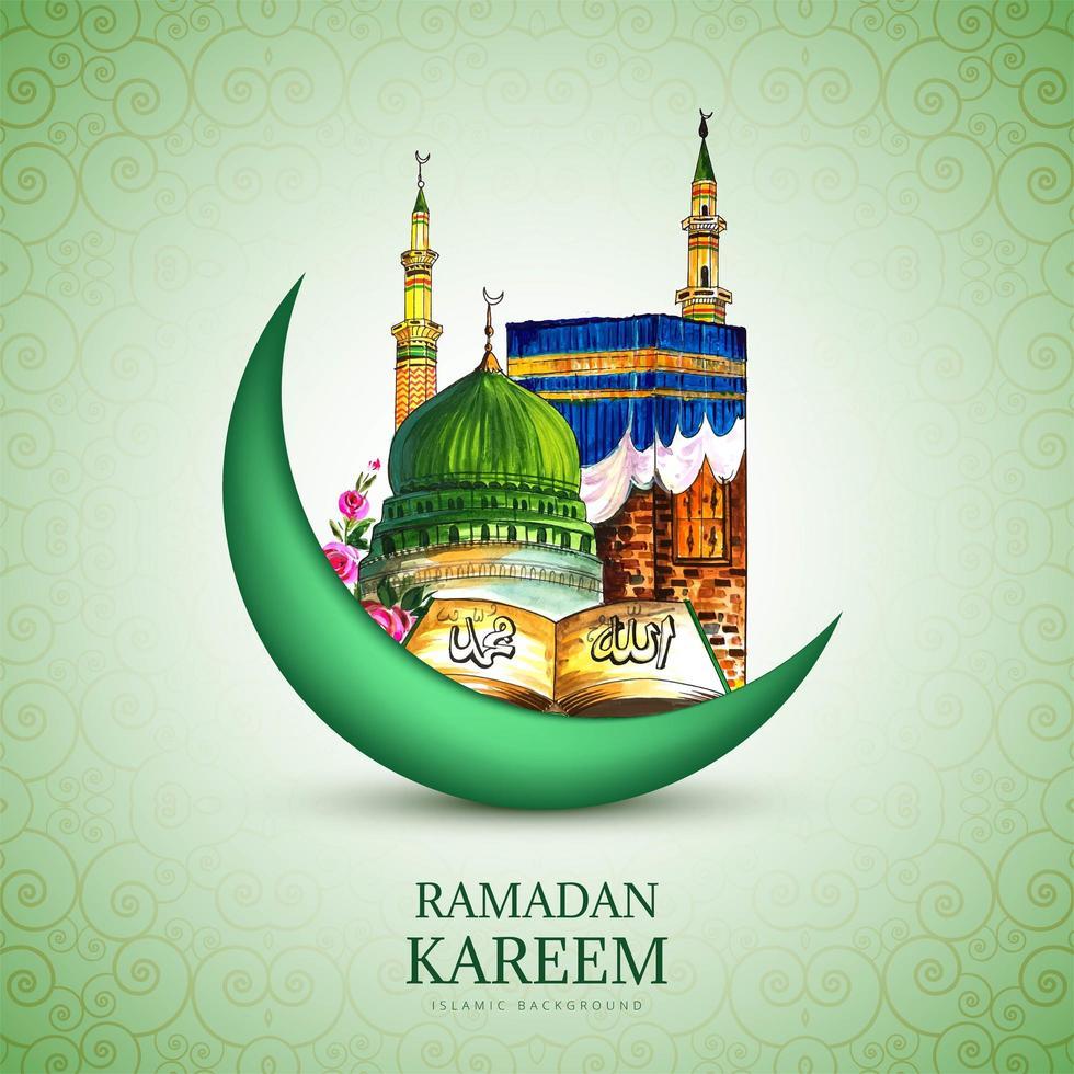 luna di Ramadan Kareem e disegno disegnato a mano della moschea vettore