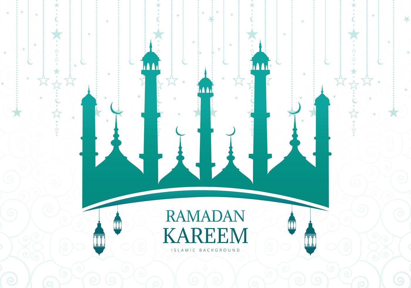 Siluetta della moschea verde blu di Ramadan Kareem vettore