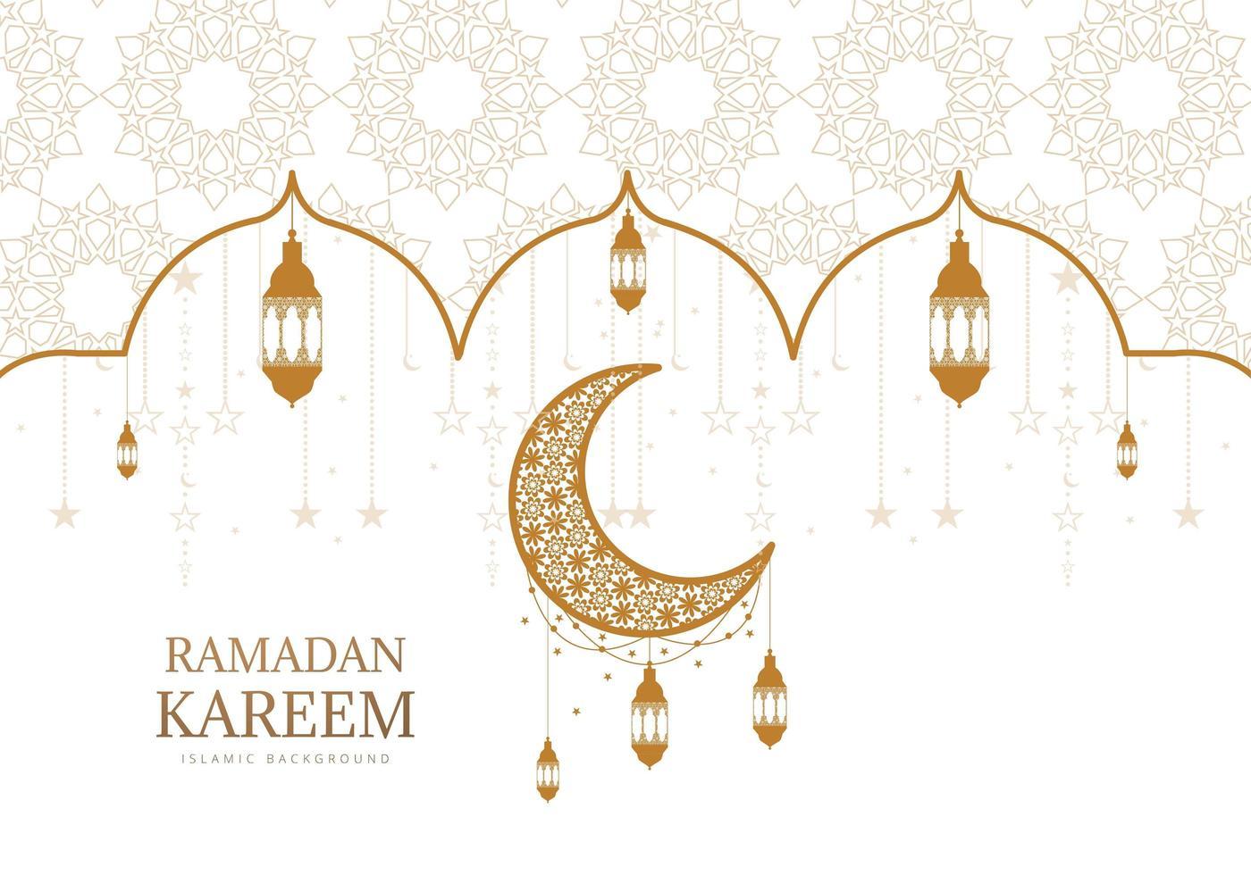 oro ornato e bianco ramadan kareem saluto vettore