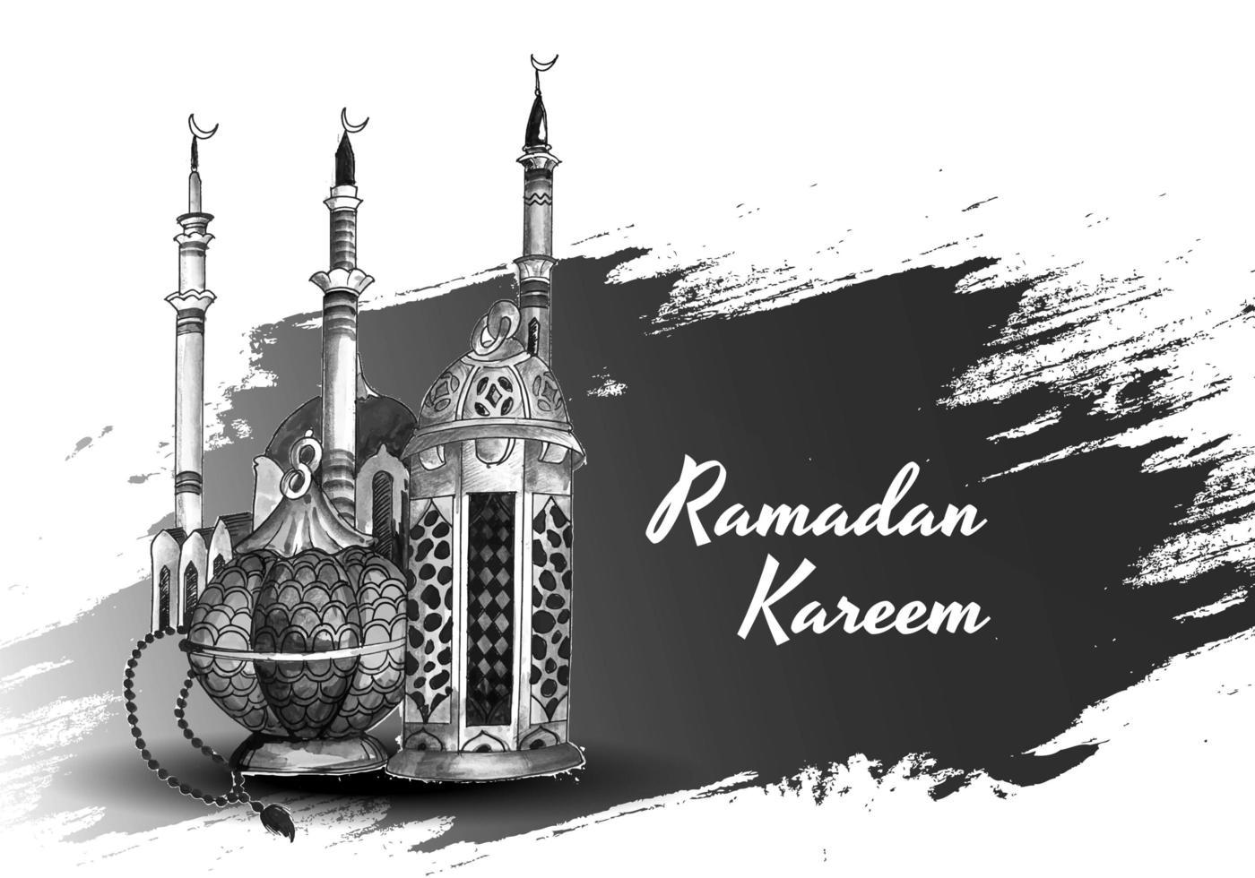 carta di ramadan islamico disegnato a mano in bianco e nero vettore