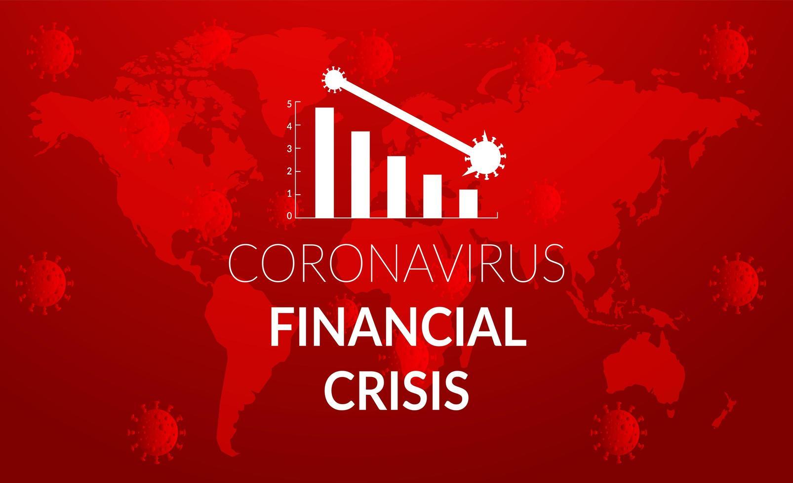 grafico di crisi caduta rossa coronavirus rosso vettore