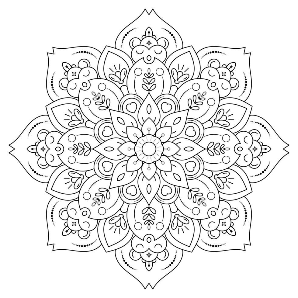 mandala con stile floreale vintage per la colorazione vettore