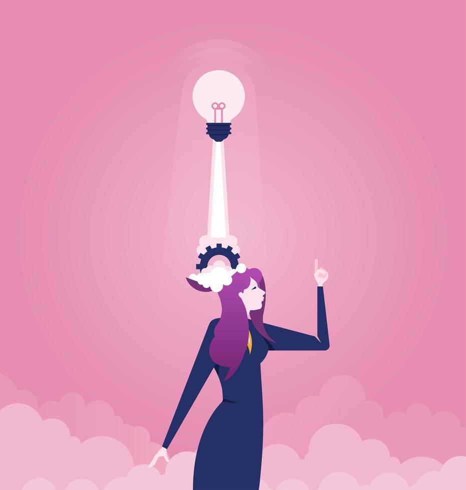 donna d'affari con lampadina lancio dalla testa vettore