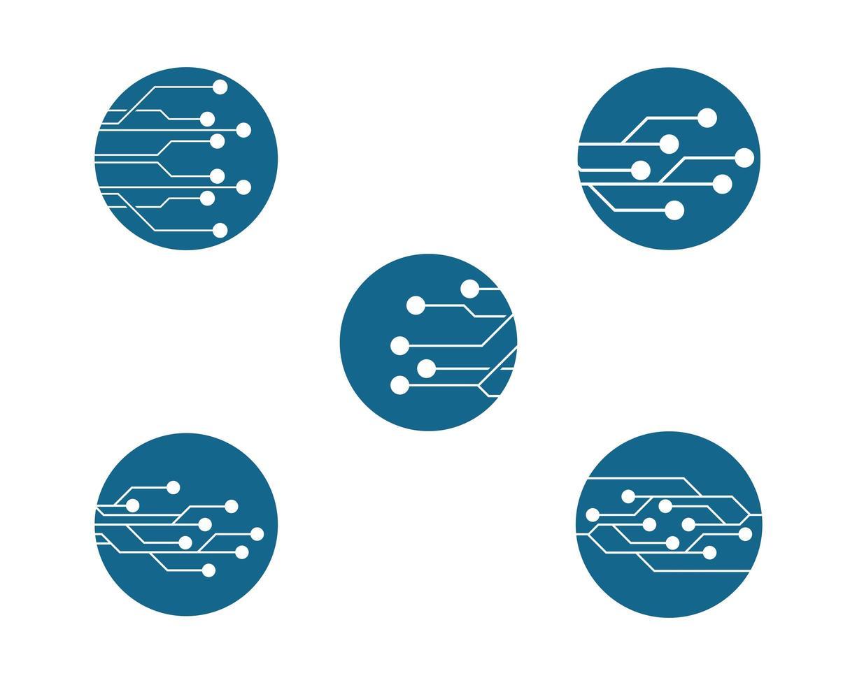 set logo circuito rotondo vettore