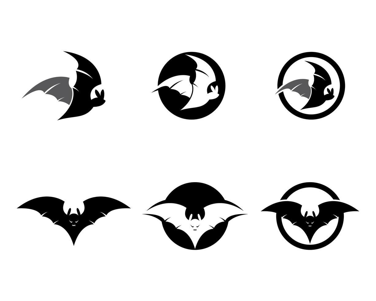 set logo pipistrello vettore