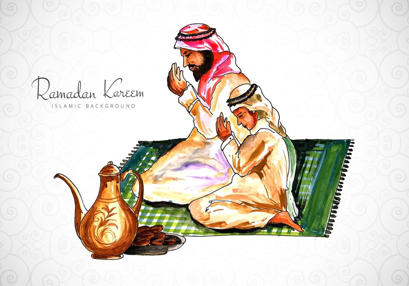 disegno della cartolina d'auguri di Ramadan con uomo che prega vettore
