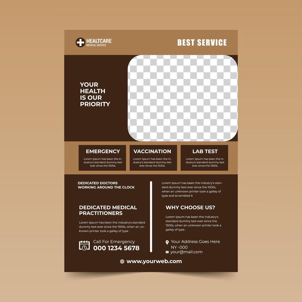 modello di progettazione flyer medico bown chiaro e scuro vettore