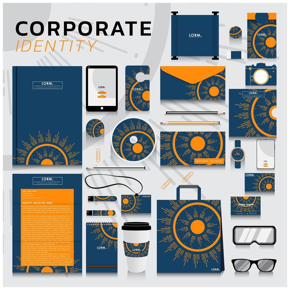 identità aziendale con disegno astratto del sole vettore