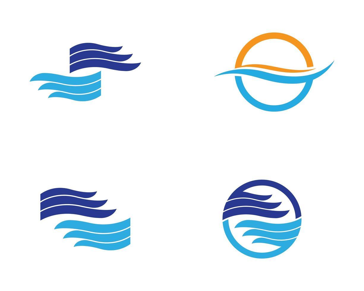 set di modelli logo onda d'acqua vettore