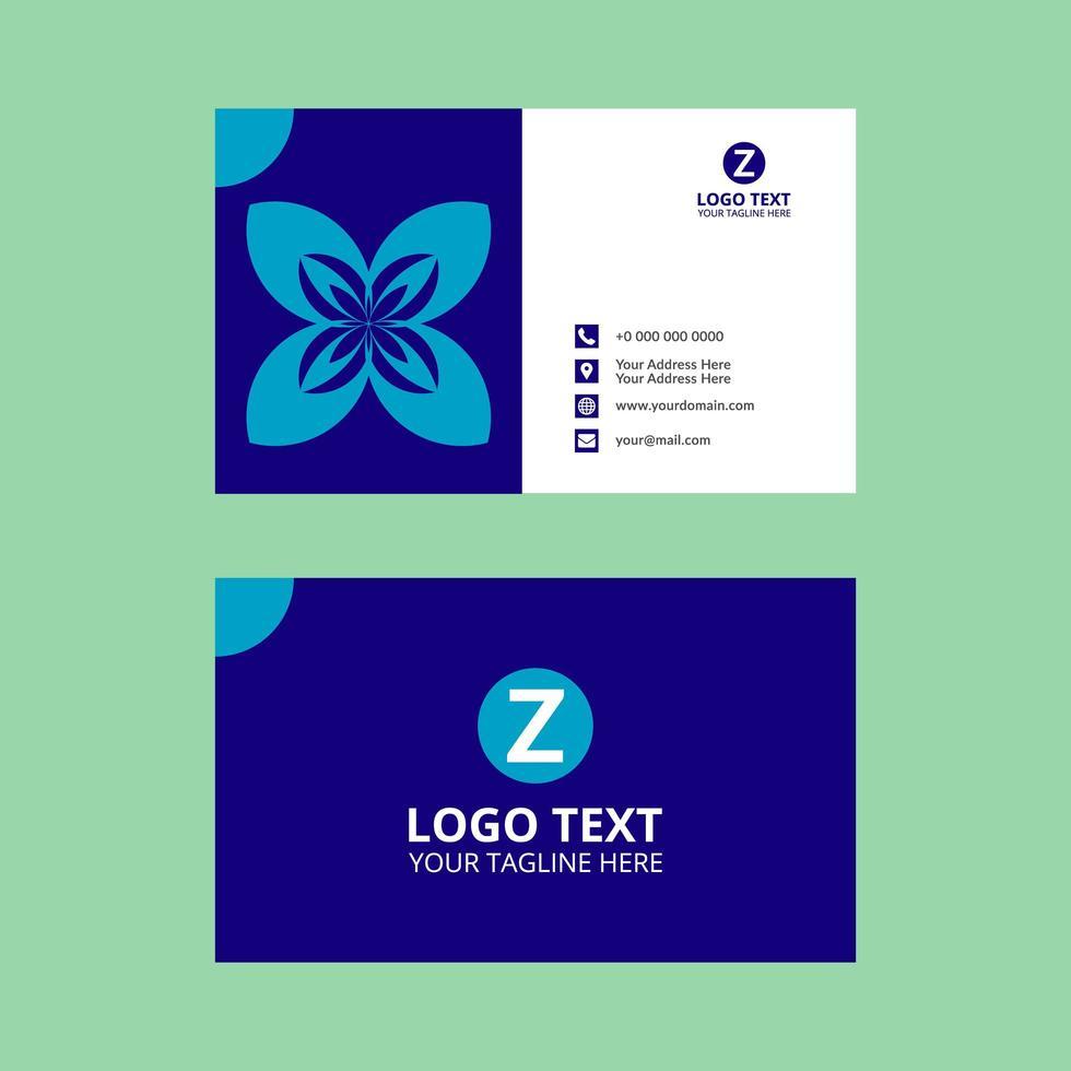 forma floreale blu chiaro sul biglietto da visita blu vettore