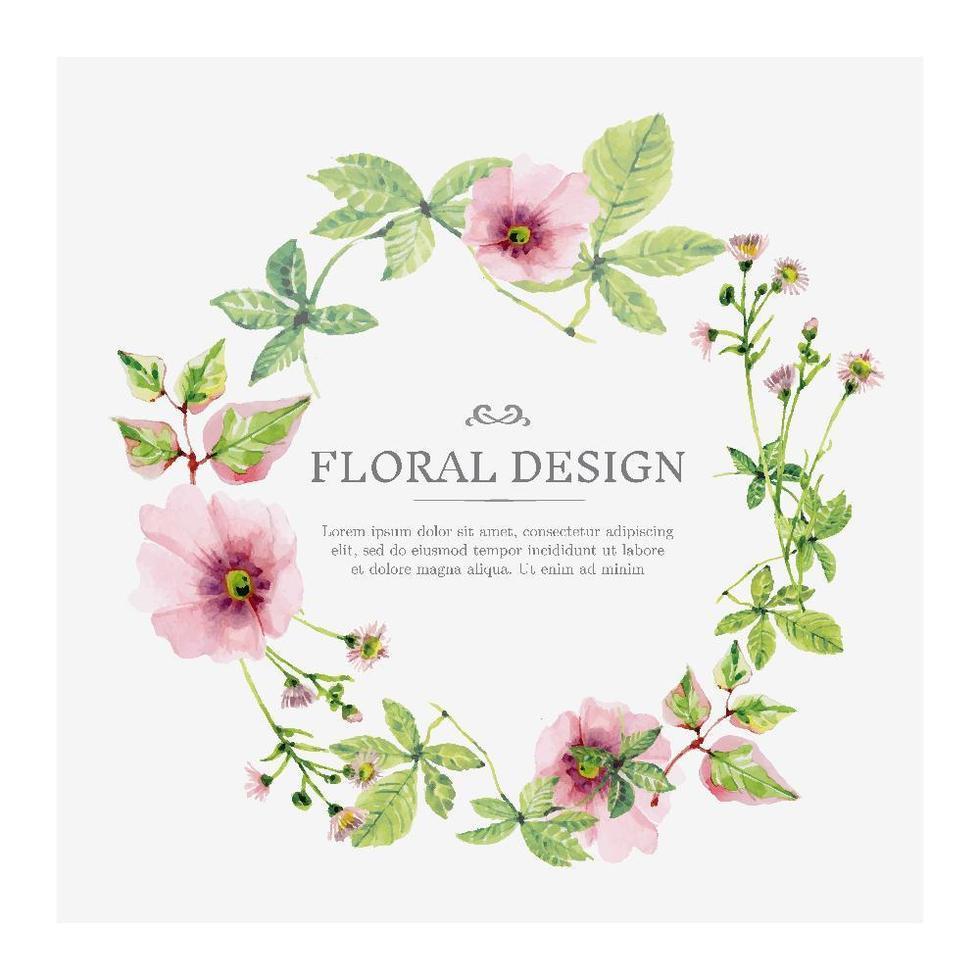 corona floreale dell'acquerello rosa tenero vettore