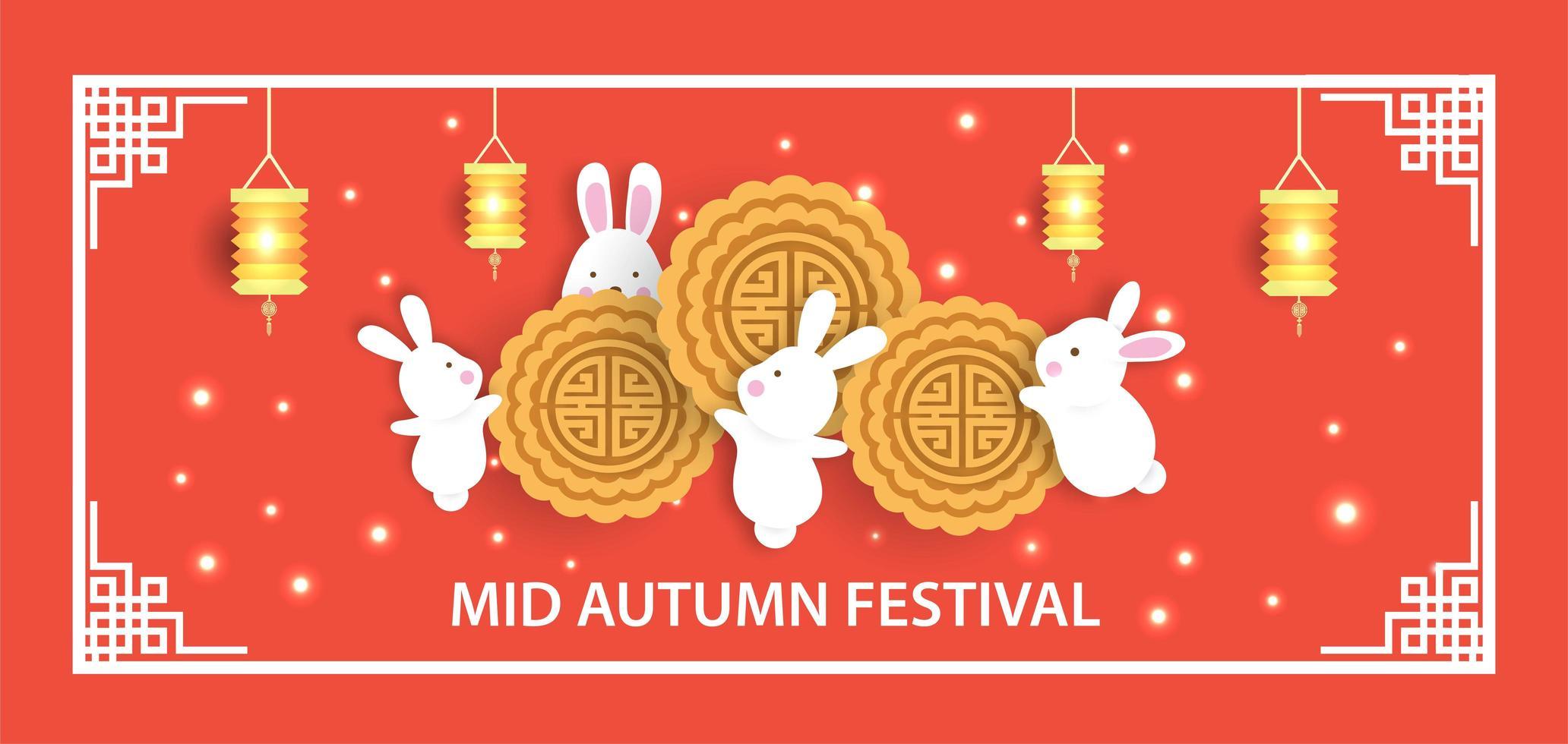 banner festival metà autunno con simpatici conigli vettore