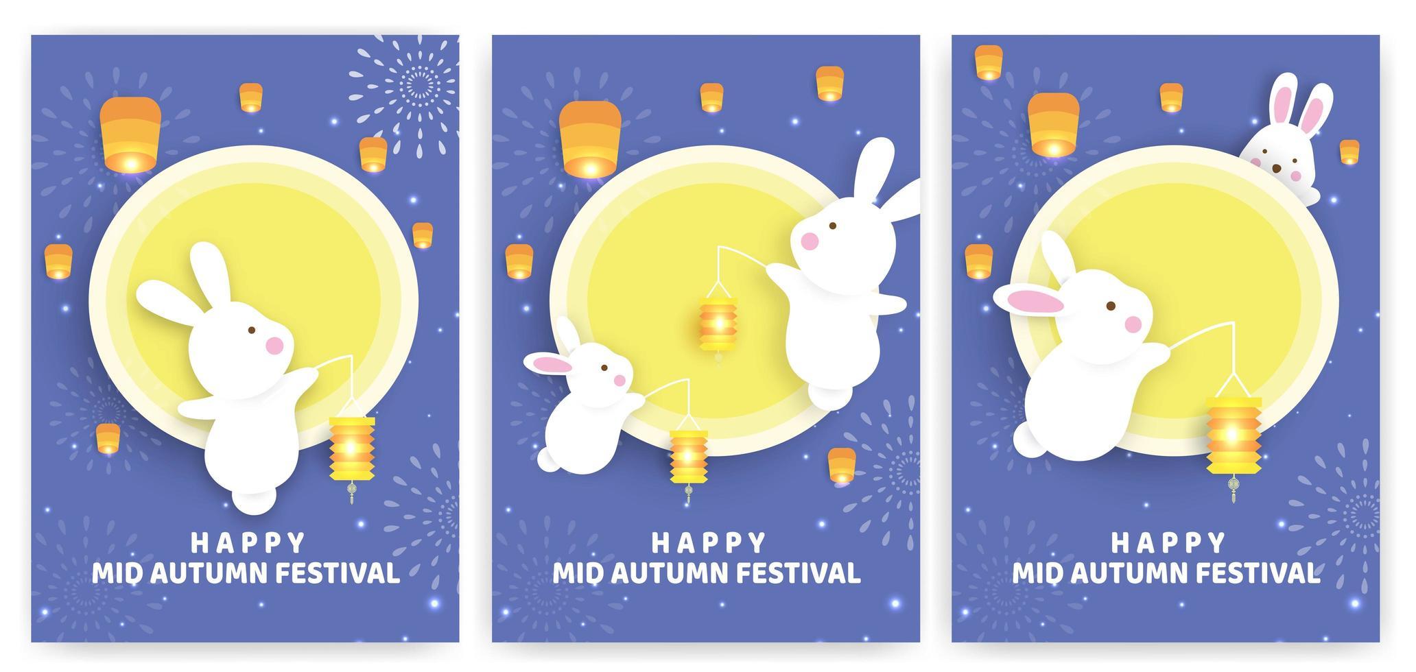 set di carte festival autunnale con conigli in possesso di lanterne vettore