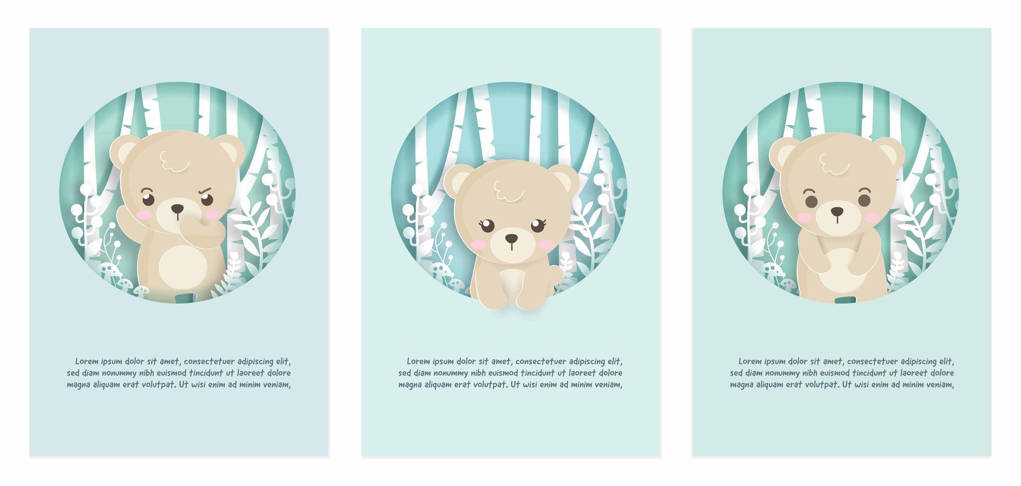 set di carte con orso nella scena della foresta vettore