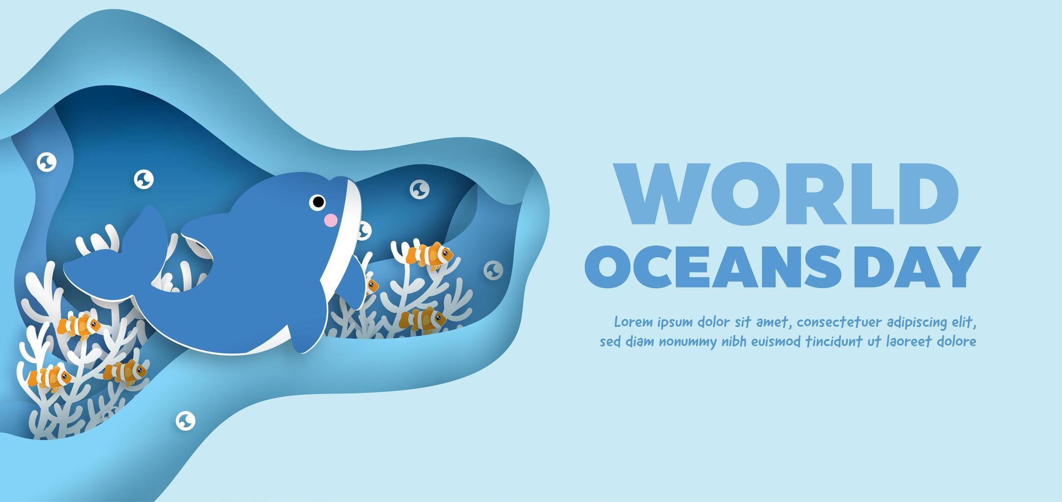 banner giornata mondiale degli oceani con delfino sott'acqua vettore