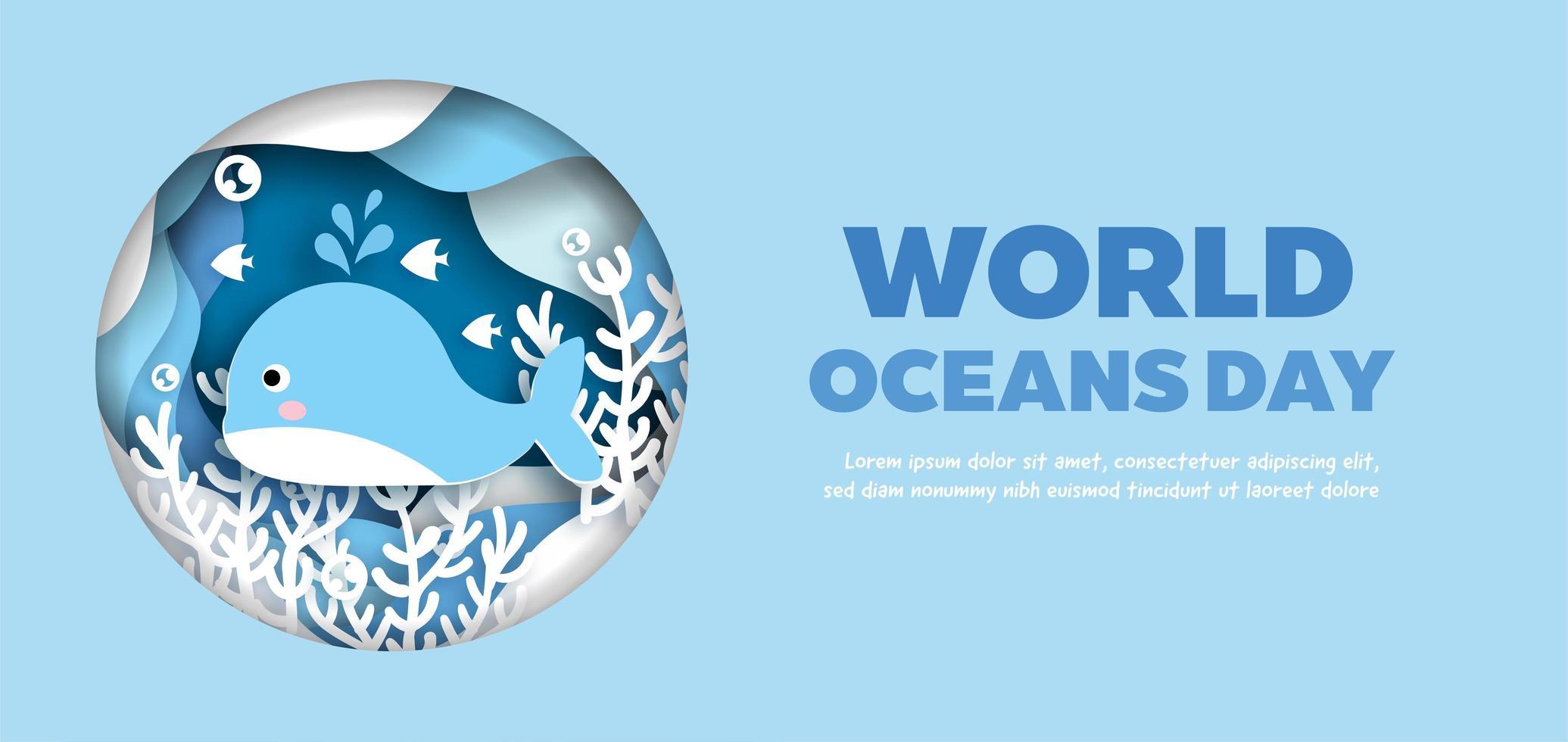 banner giornata mondiale degli oceani con delfino in cerchio vettore