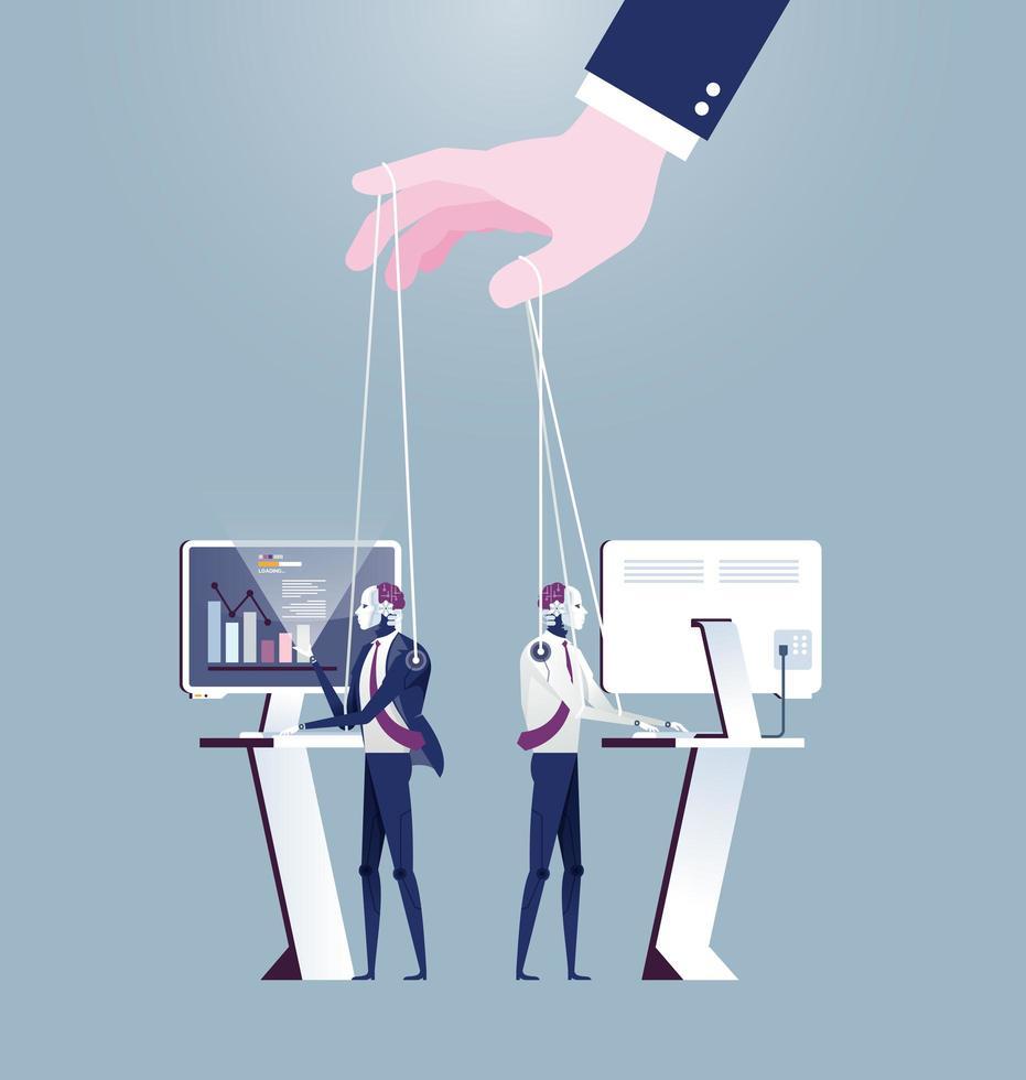 mano umana che controlla robot come la marionetta vettore