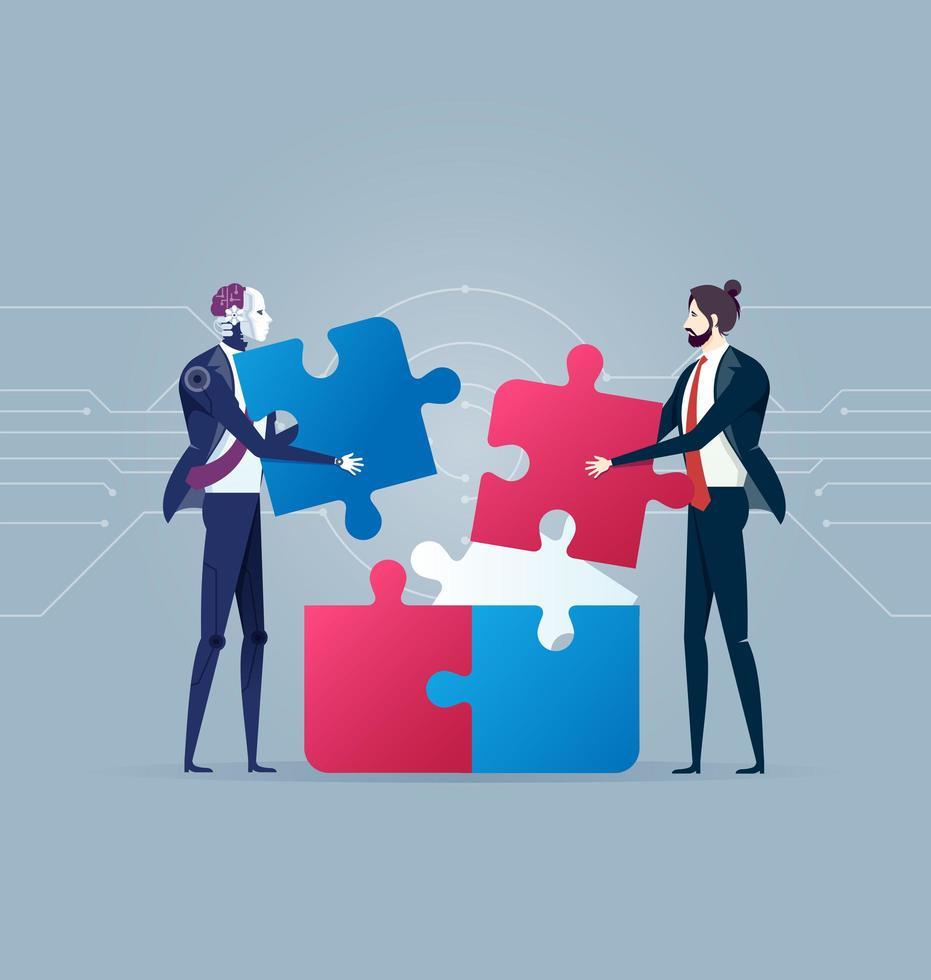 robot e uomo d'affari completando puzzle vettore