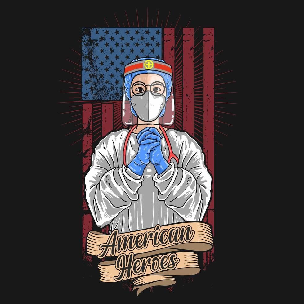 poster di eroi americani lavoratore medico vettore