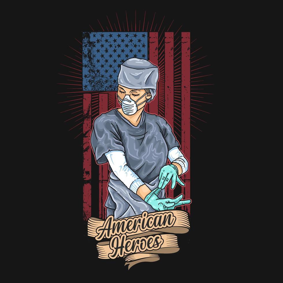 poster di eroi americani lavoratore sanitario vettore