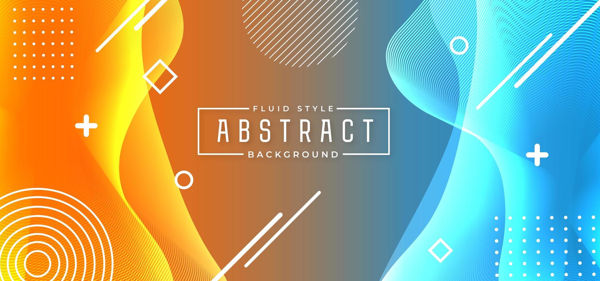 sfondo astratto stile fluido blu e arancione vettore
