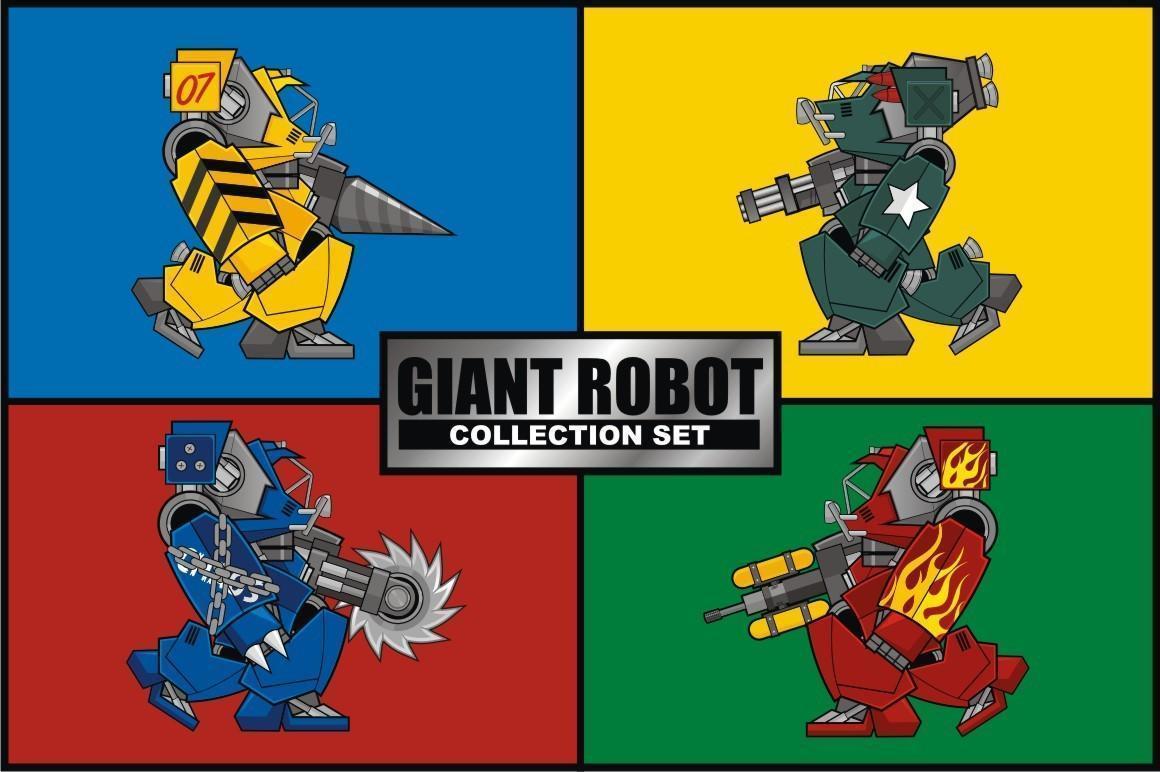 set di raccolta robot gigante vettore