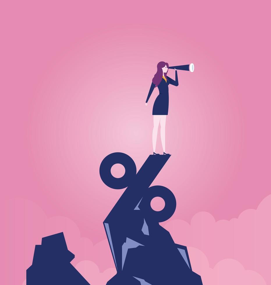 imprenditrice guardando attraverso il telescopio in piedi sulla cima del segno di percentuale vettore