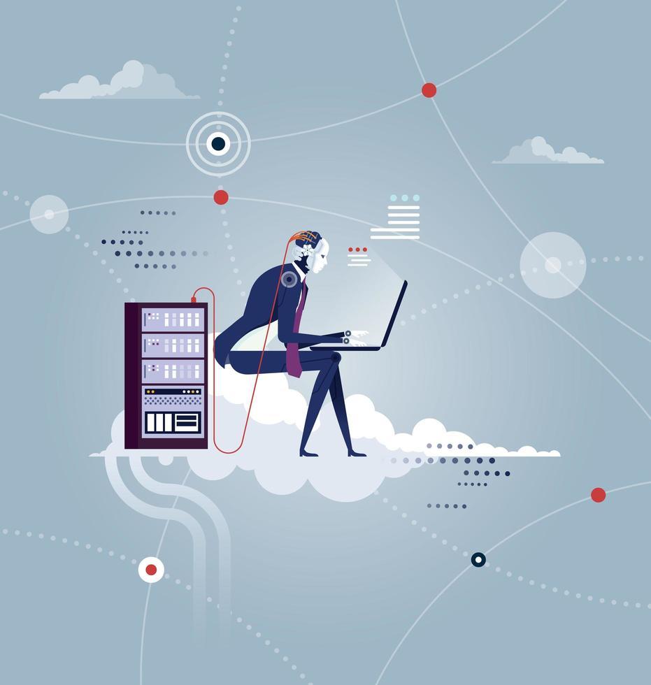 rete cloud. il robot si siede su una nuvola con il computer portatile vettore