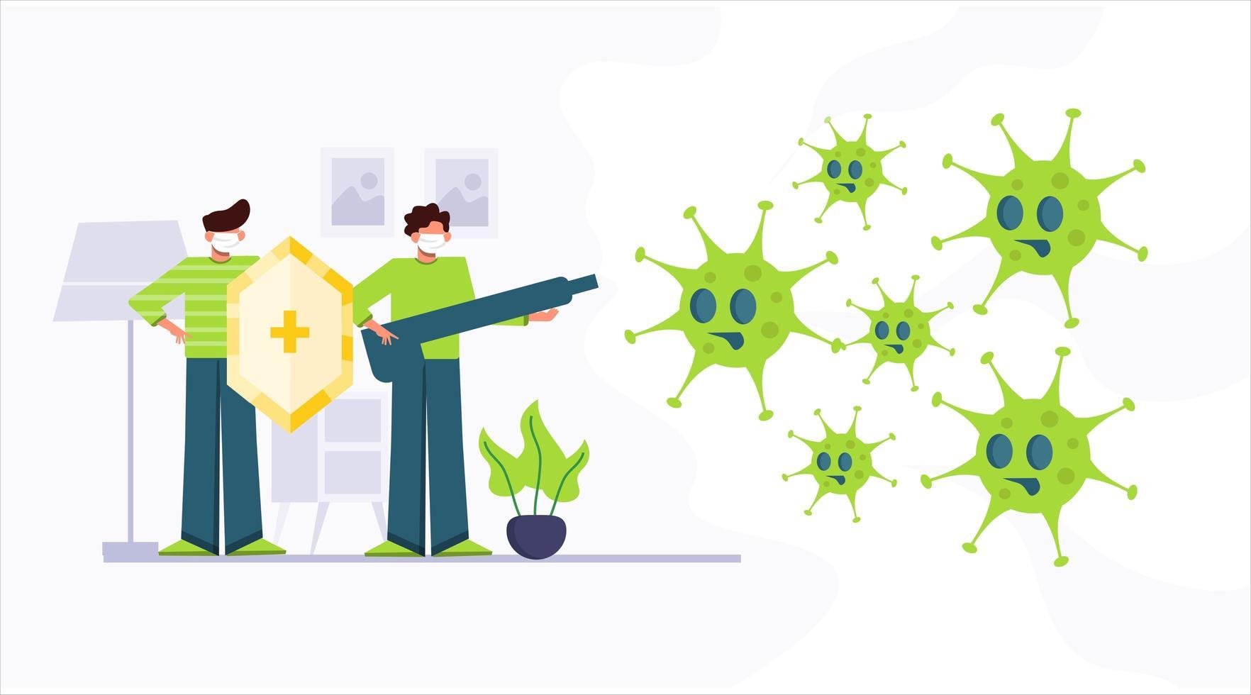 persone che combattono il virus corona covid-19 vettore