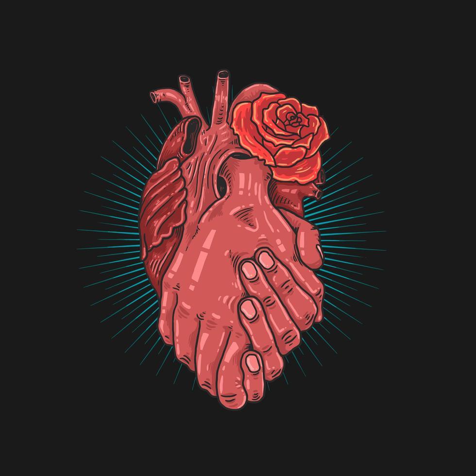 un cuore le mani insieme supportano il design vettore