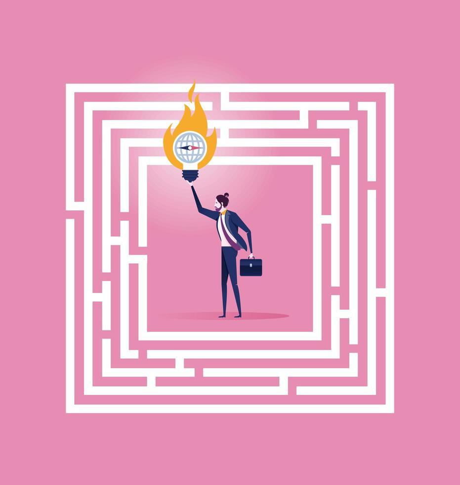 uomo d'affari in piedi in un labirinto con una soluzione per il successo vettore