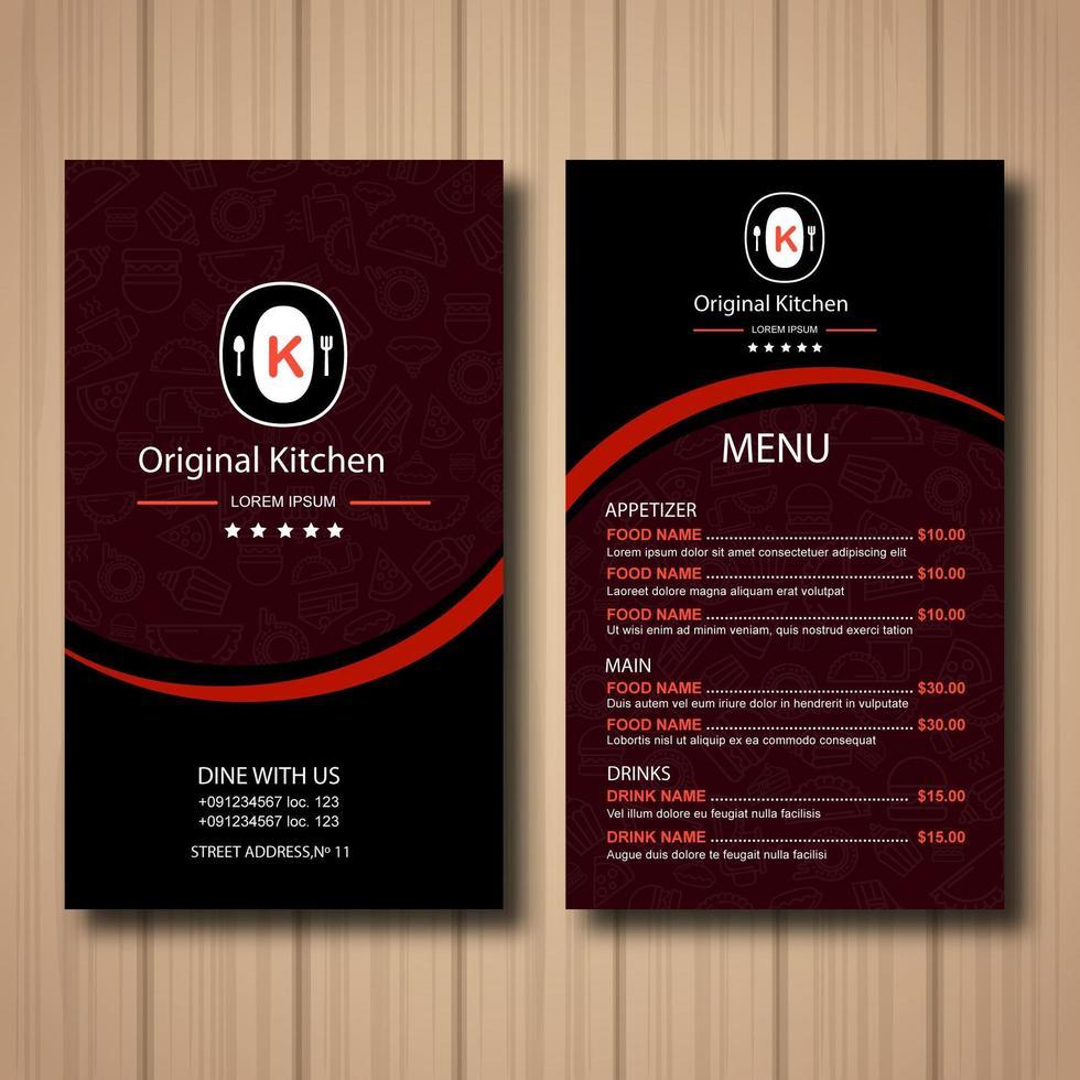 menu del ristorante rosso vettore