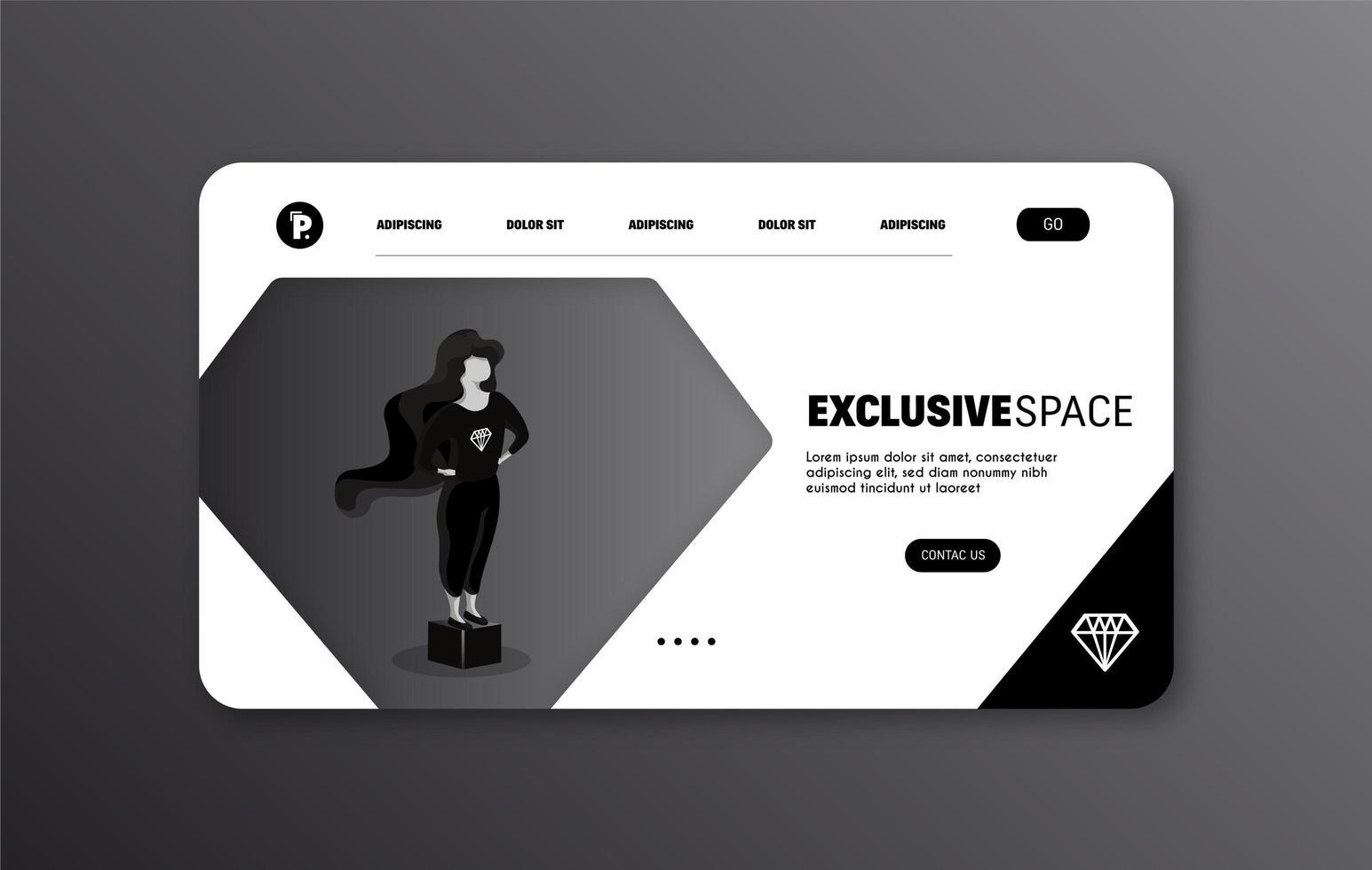 pagina Web esclusiva nera vettore