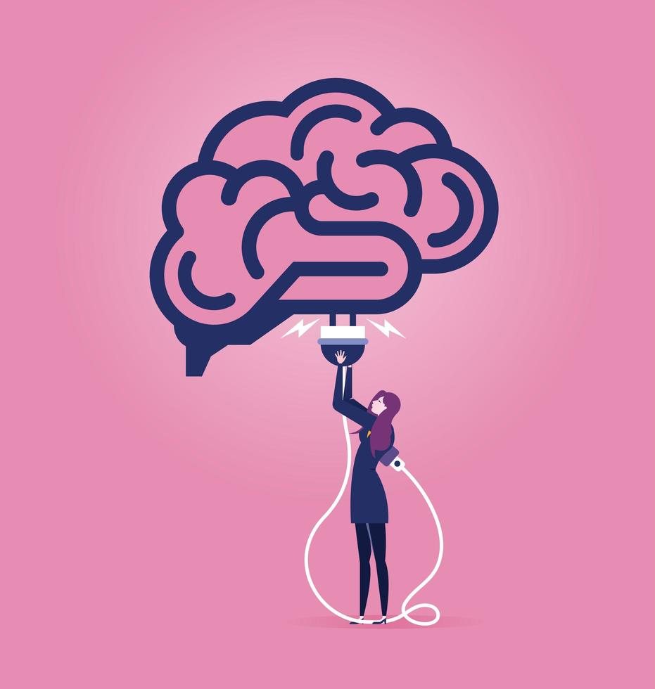 carica idea cervello o concetto di cloud computing vettore