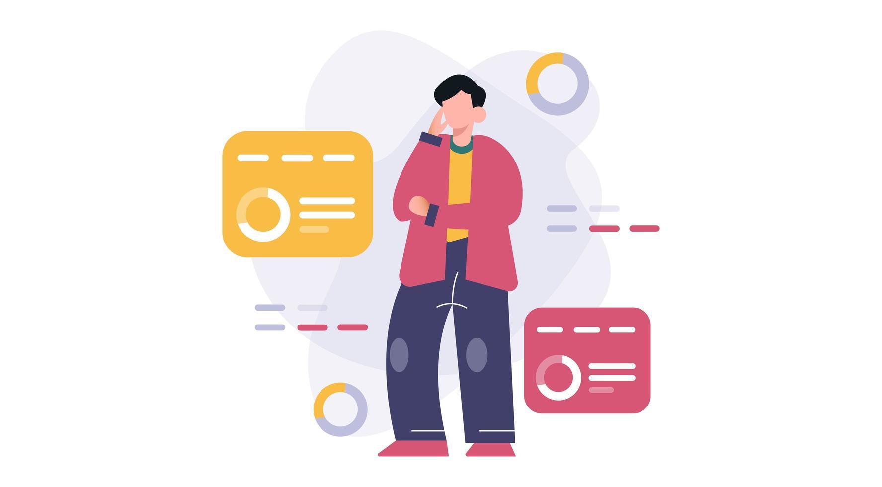 persone che pensano e analizzano e ricercano il concetto di dati aziendali vettore