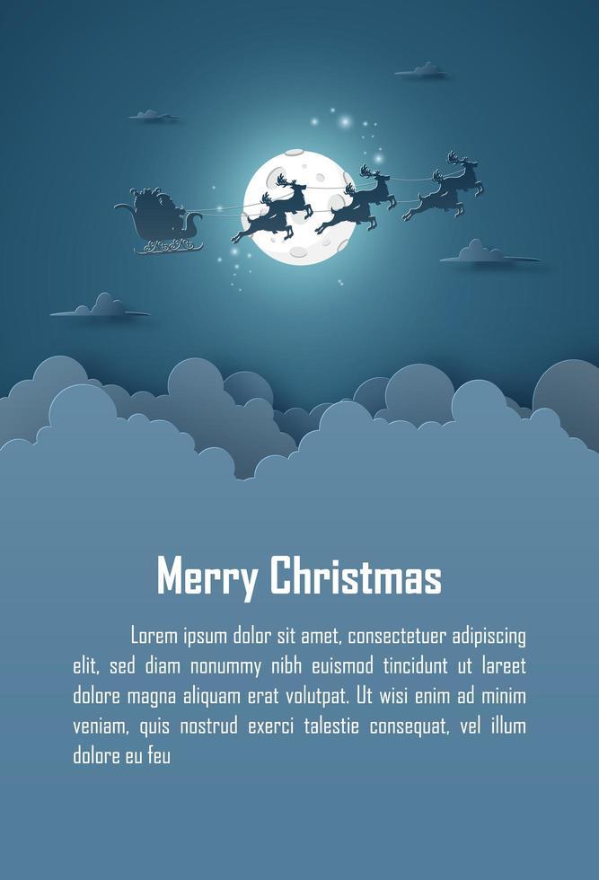 sfondo Natale Babbo Natale con la luna piena sul cielo vettore