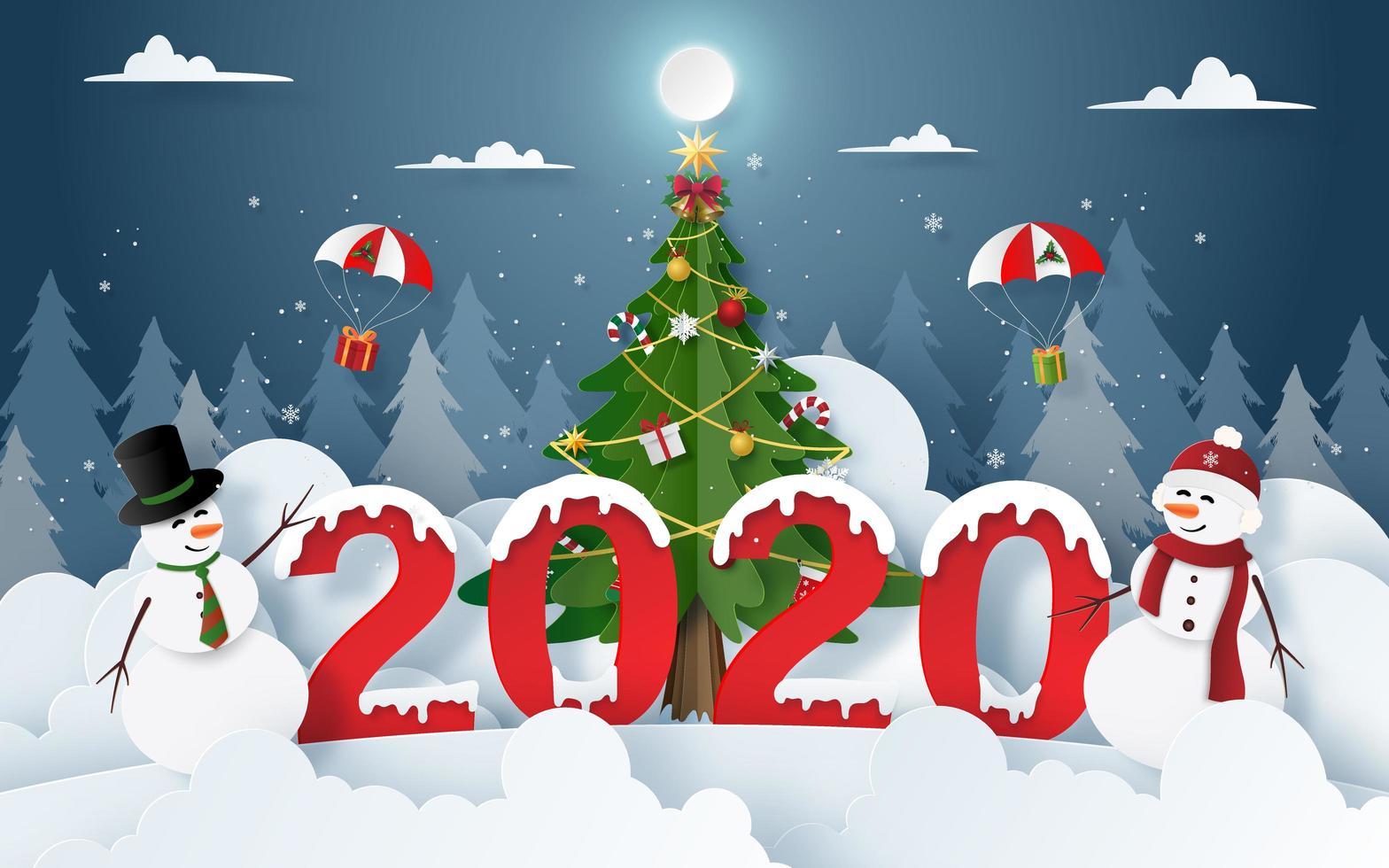 arte di carta del pupazzo di neve con la festa di Natale e Capodanno 2020 alla vigilia di Natale vettore