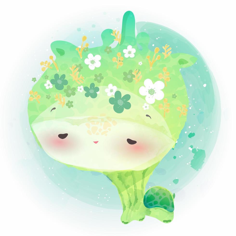 piccola tartaruga con corona di fiori vettore